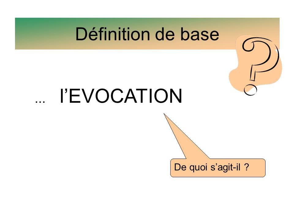 Définition de base ... l'EVOCATION De quoi s'agit-il