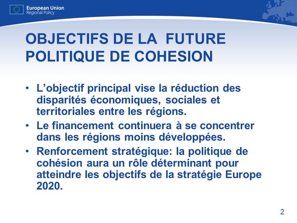 OBJECTIFS DE LA FUTURE POLITIQUE DE COHESION
