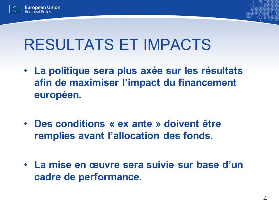 RESULTATS ET IMPACTS La politique sera plus axée sur les résultats afin de maximiser l'impact du financement européen.