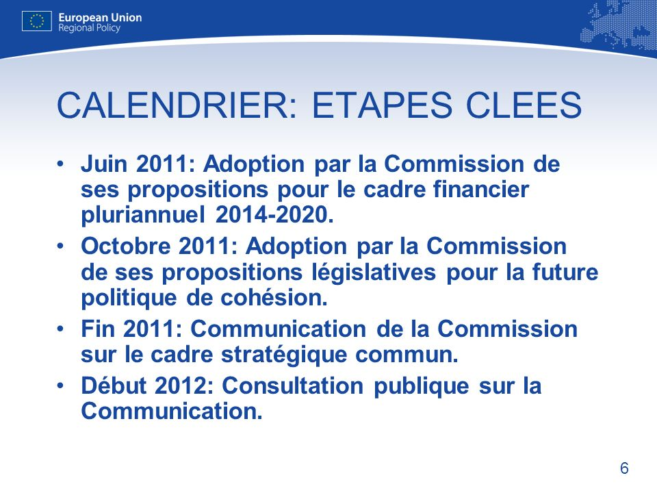 CALENDRIER: ETAPES CLEES