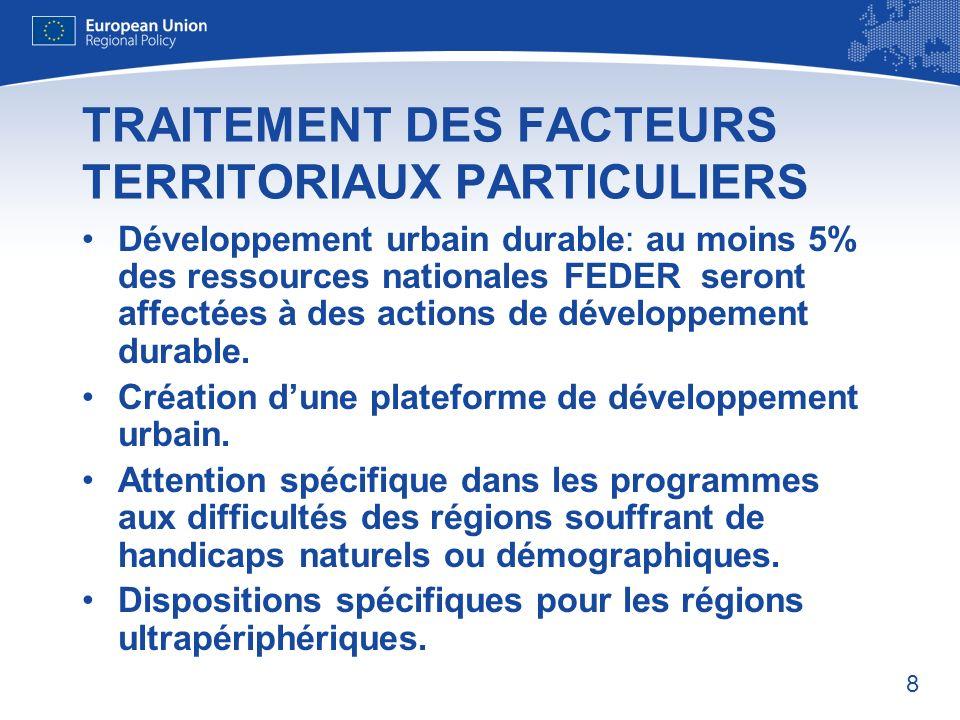 TRAITEMENT DES FACTEURS TERRITORIAUX PARTICULIERS