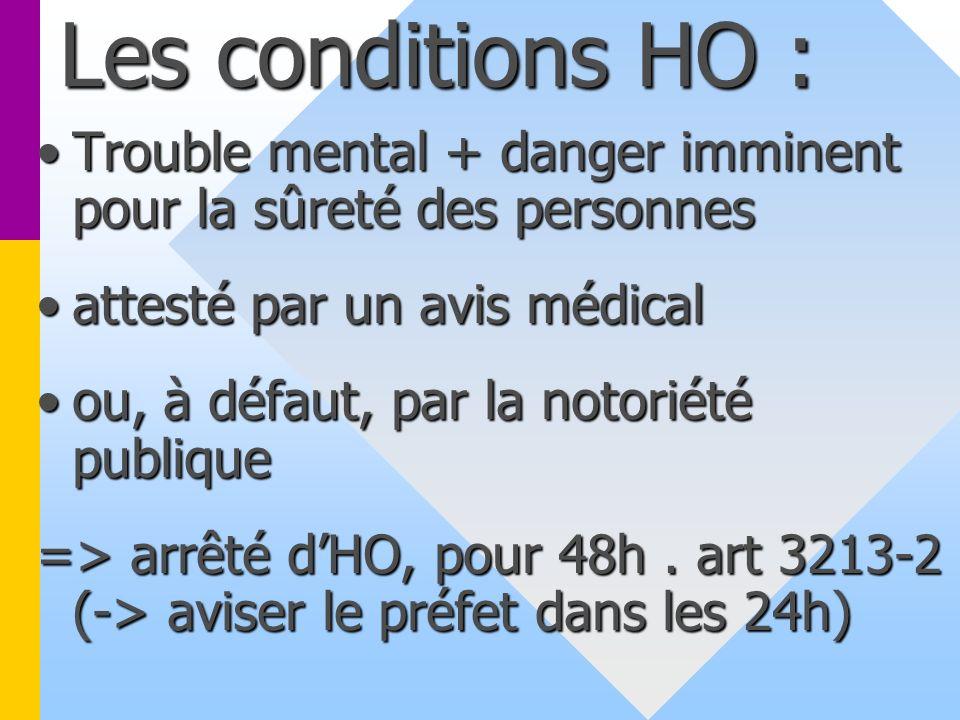 Les conditions HO : Trouble mental + danger imminent pour la sûreté des personnes. attesté par un avis médical.