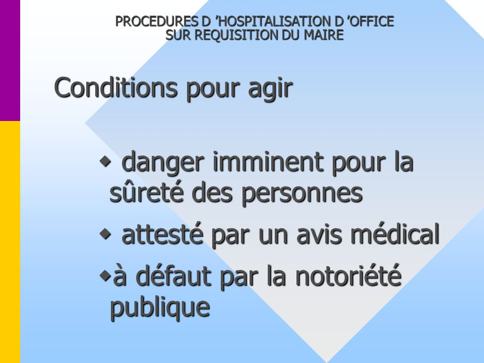 PROCEDURES D 'HOSPITALISATION D 'OFFICE SUR REQUISITION DU MAIRE