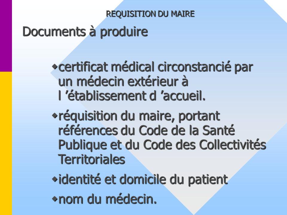 identité et domicile du patient nom du médecin.
