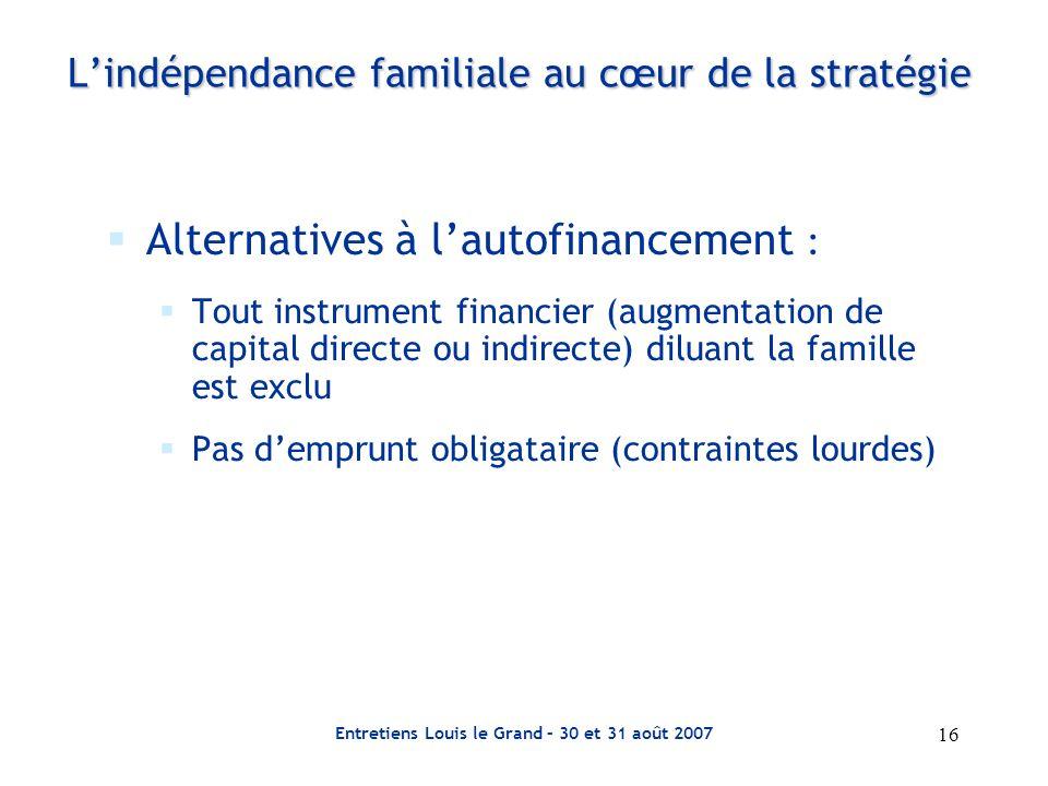 L'indépendance familiale au cœur de la stratégie