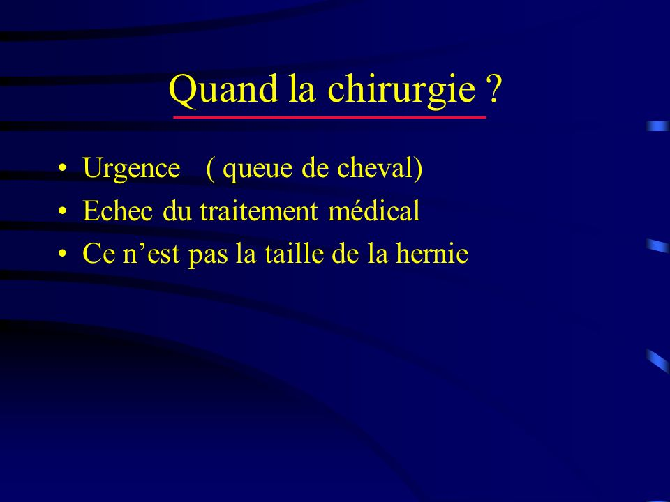 Quand la chirurgie Urgence ( queue de cheval)