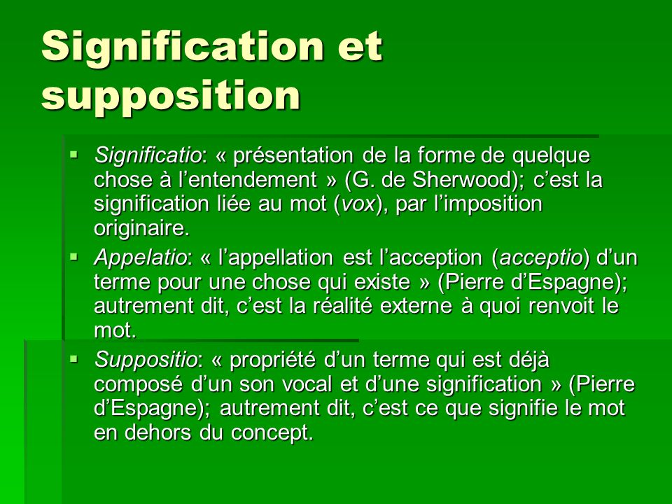 Signification et supposition