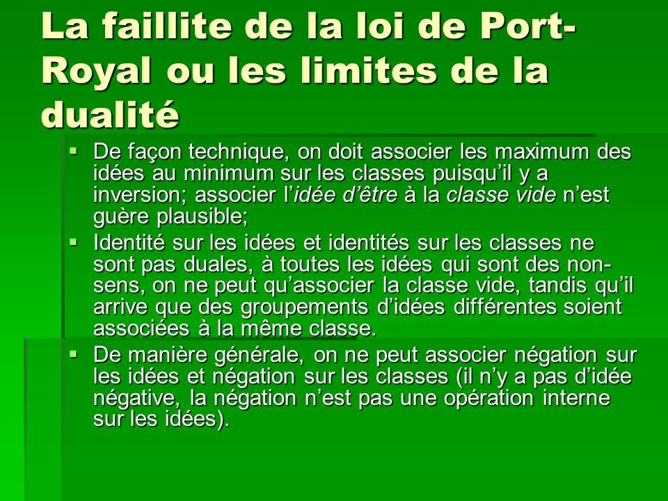 La faillite de la loi de Port-Royal ou les limites de la dualité