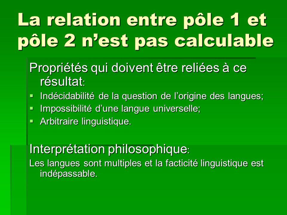 La relation entre pôle 1 et pôle 2 n'est pas calculable