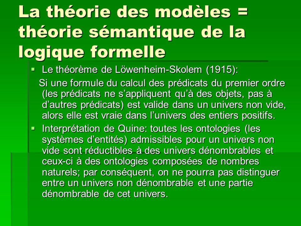 La théorie des modèles = théorie sémantique de la logique formelle