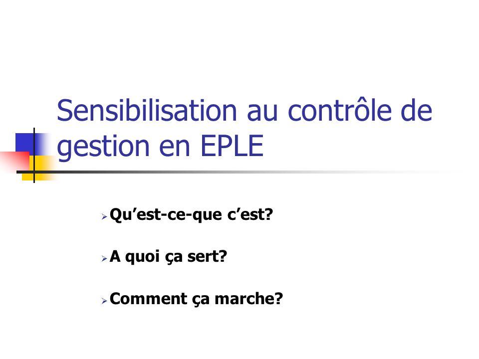 Sensibilisation au contrôle de gestion en EPLE