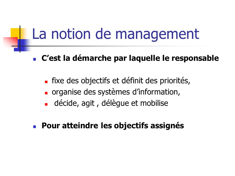La notion de management