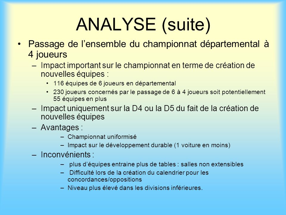 ANALYSE (suite) Passage de l'ensemble du championnat départemental à 4 joueurs.