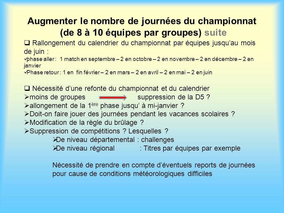 Augmenter le nombre de journées du championnat (de 8 à 10 équipes par groupes) suite