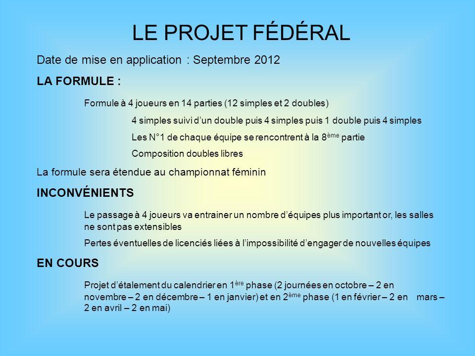LE PROJET FÉDÉRAL Date de mise en application : Septembre 2012