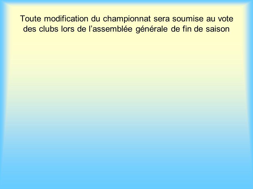 Toute modification du championnat sera soumise au vote des clubs lors de l'assemblée générale de fin de saison