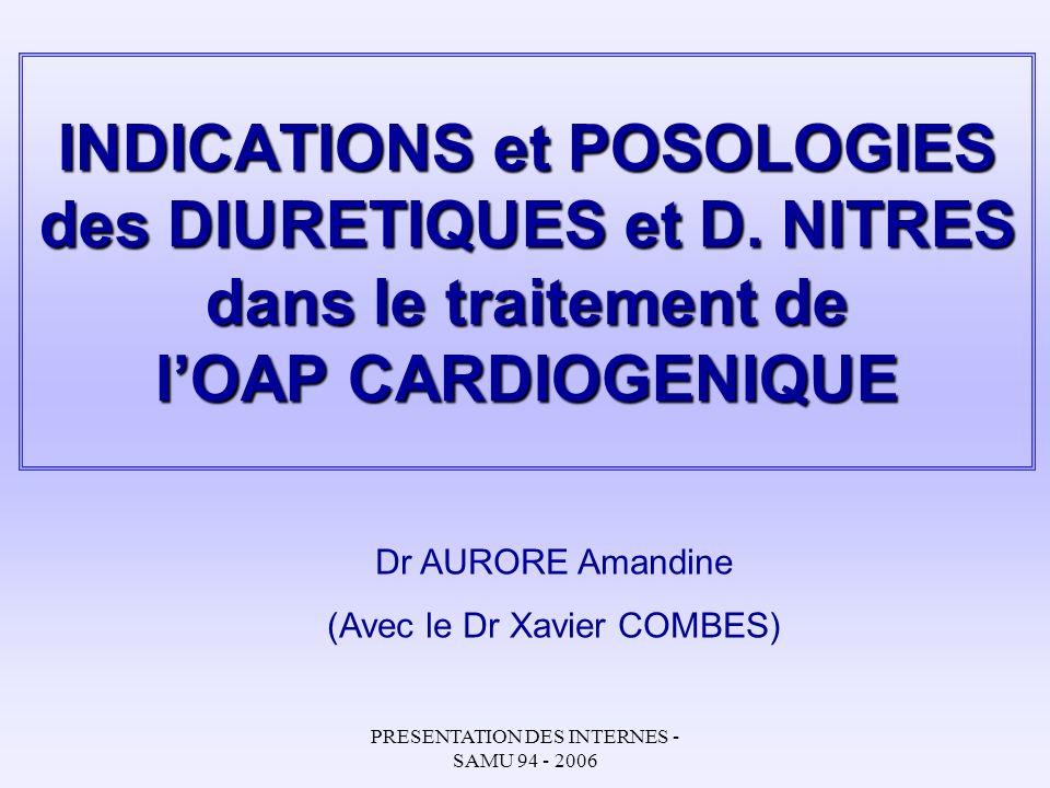 INDICATIONS et POSOLOGIES des DIURETIQUES et D