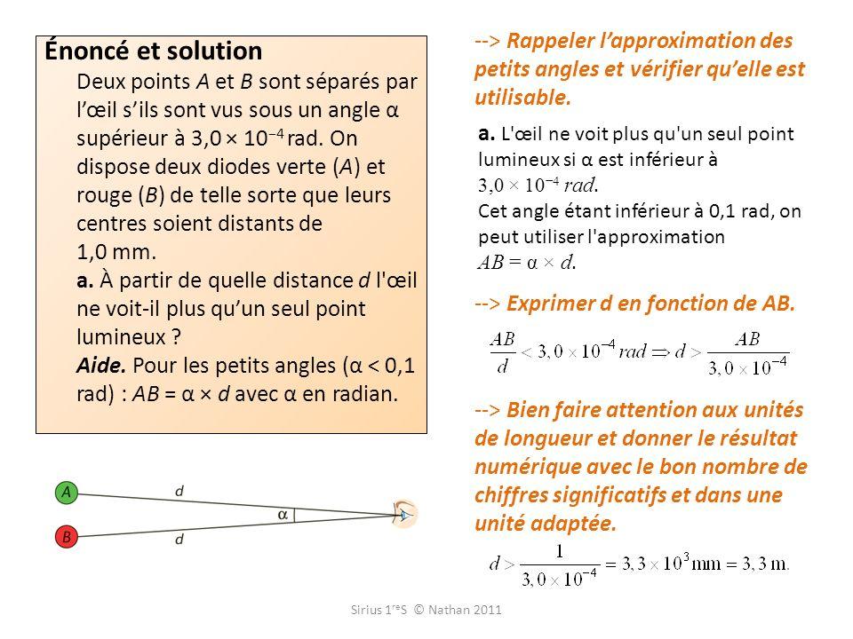 --> Rappeler l'approximation des petits angles et vérifier qu'elle est utilisable.
