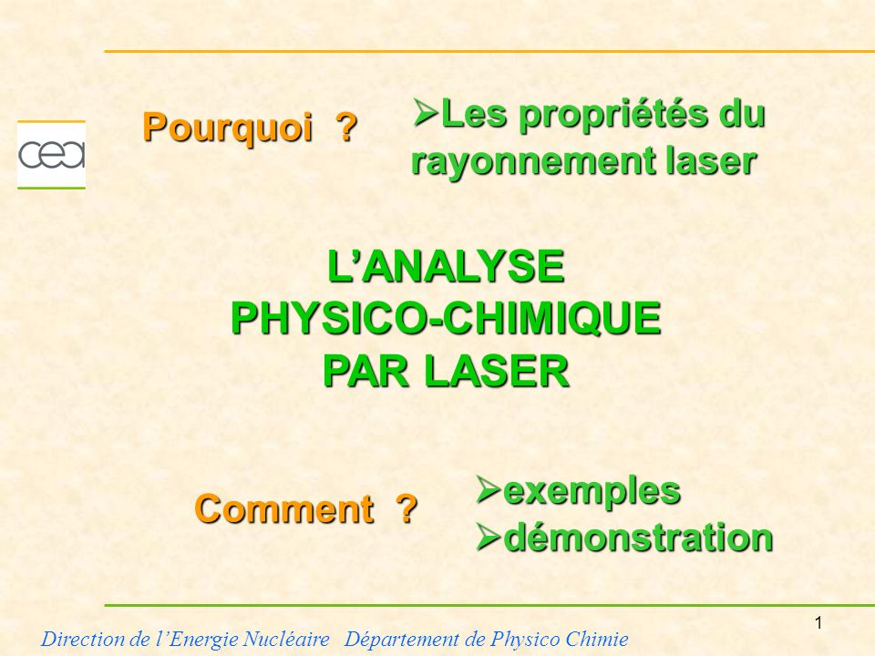 L'ANALYSE PHYSICO-CHIMIQUE PAR LASER