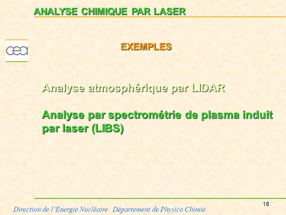 Analyse atmosphérique par LIDAR