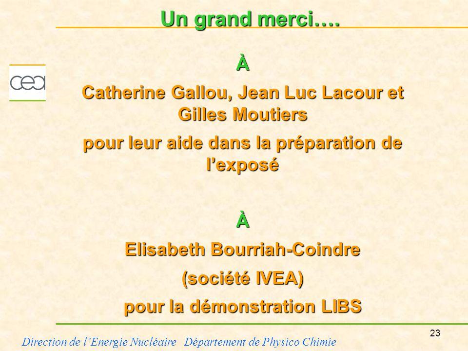 Un grand merci….À. Catherine Gallou, Jean Luc Lacour et Gilles Moutiers. pour leur aide dans la préparation de l'exposé.