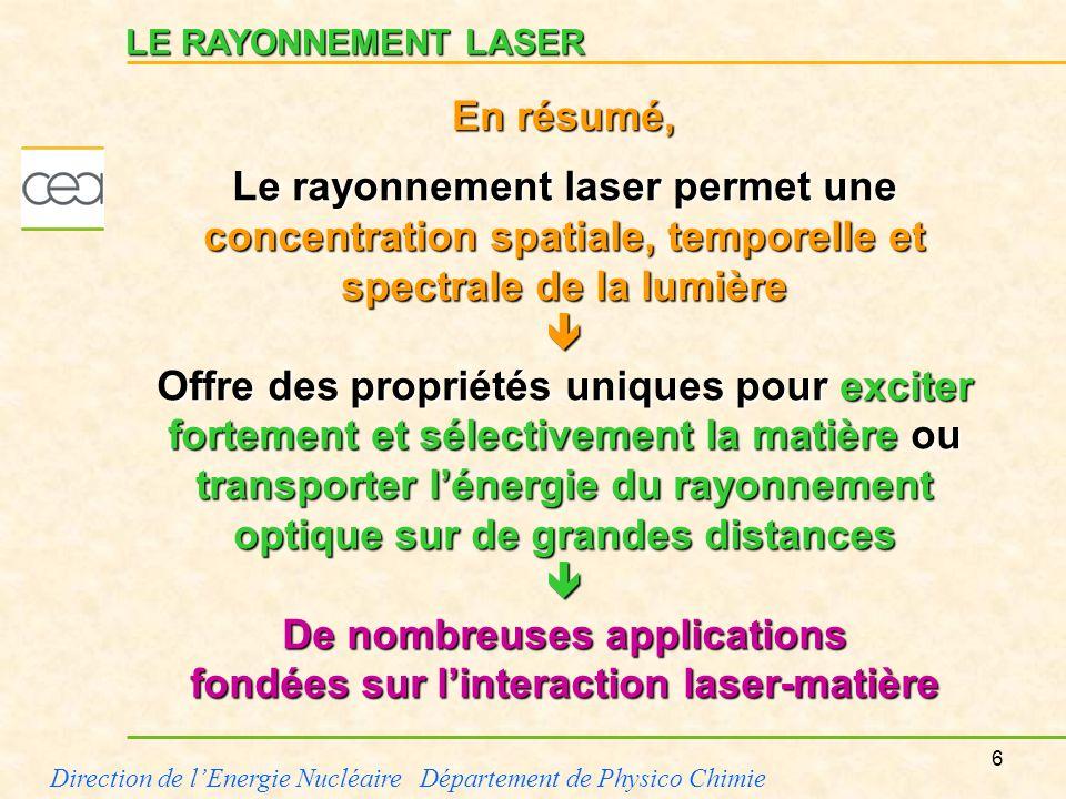 De nombreuses applications fondées sur l'interaction laser-matière