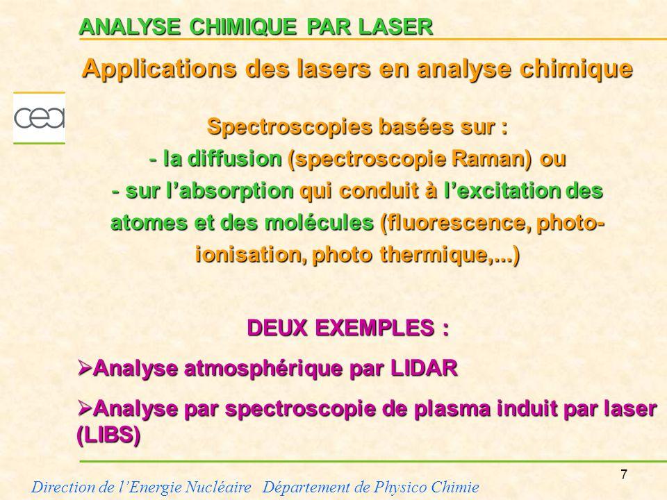 Applications des lasers en analyse chimique