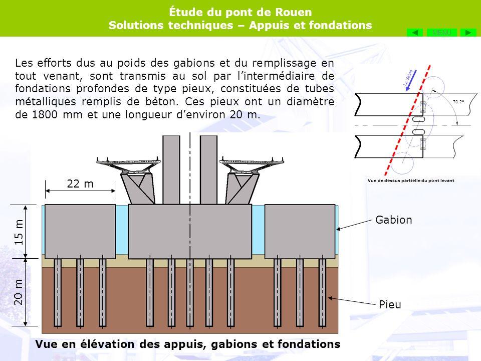 Vue en élévation des appuis, gabions et fondations