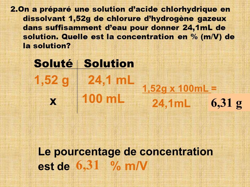 6,31 1,52 g 24,1 mL 100 mL x 6,31 g Soluté Solution 24,1mL