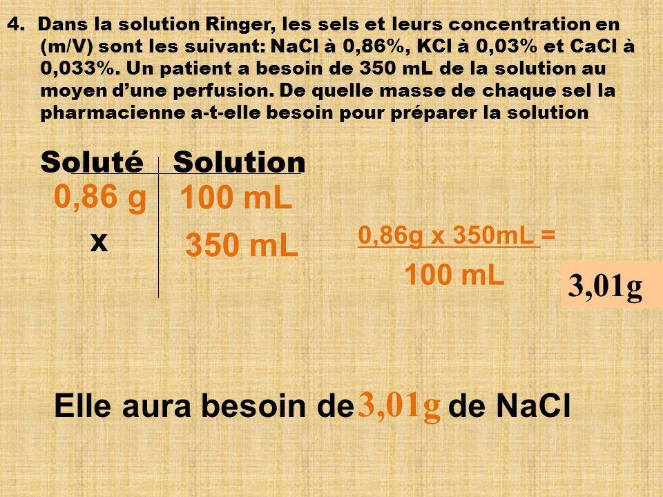 3,01g 0,86 g 100 mL x 350 mL 3,01g Elle aura besoin de de NaCl