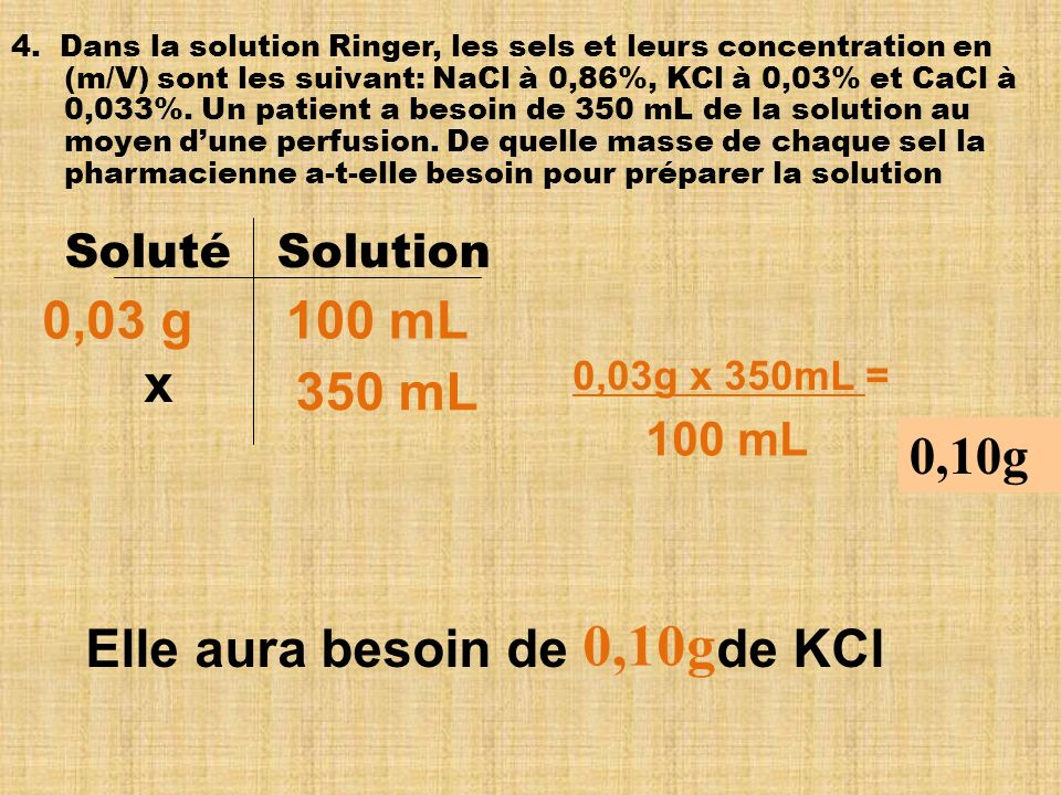0,10g 0,03 g 100 mL x 350 mL 0,10g Elle aura besoin de de KCl