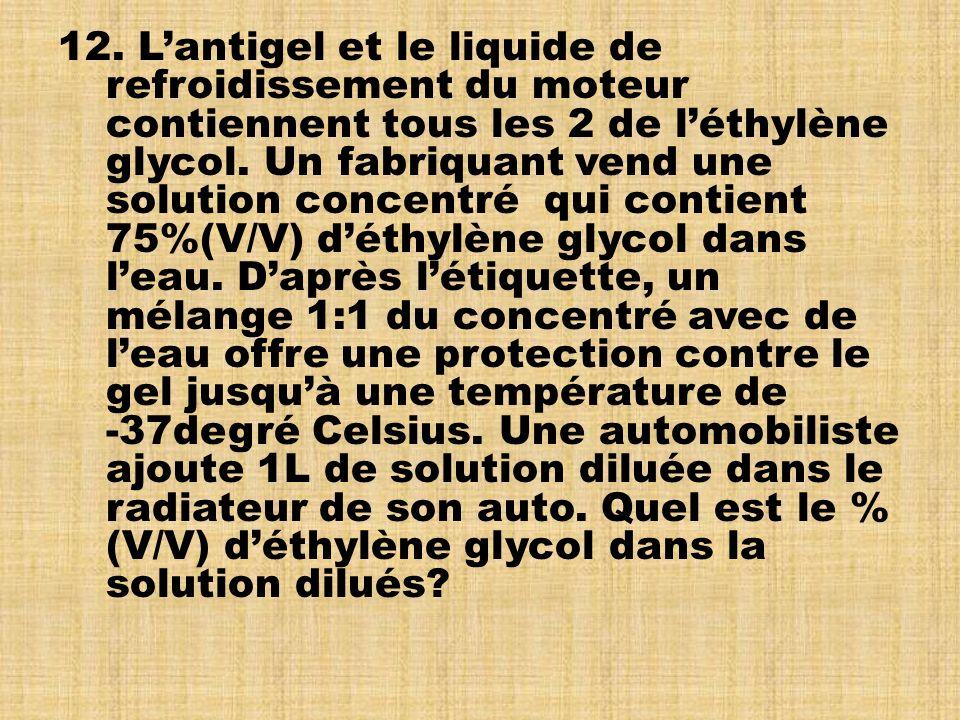 12. L'antigel et le liquide de. refroidissement du moteur