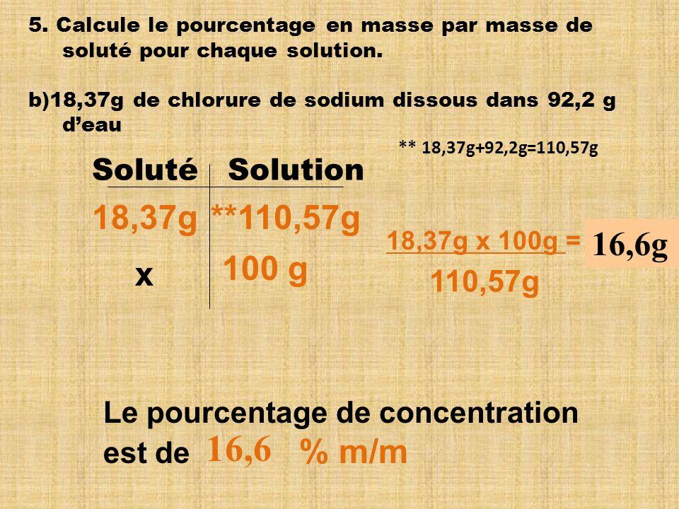 16,6 18,37g **110,57g 16,6g 100 g x Soluté Solution 110,57g