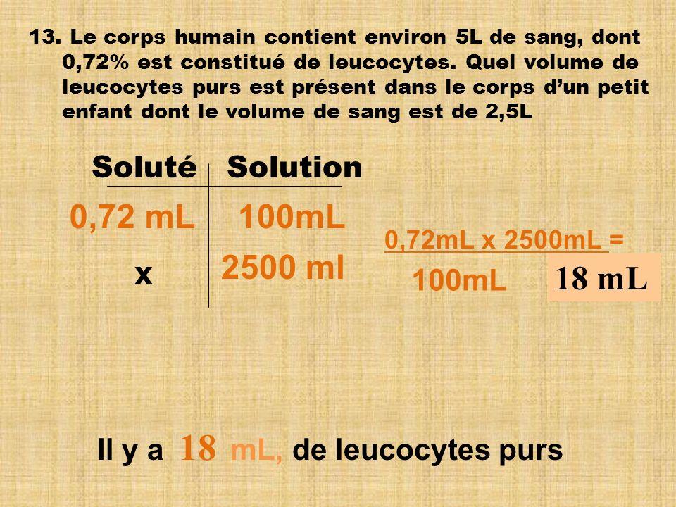 18 0,72 mL 100mL 2500 ml x 18 mL Soluté Solution 100mL