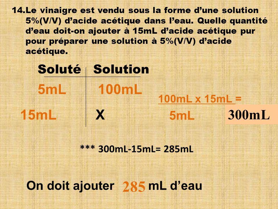 285 5mL 100mL 15mL X 300mL Soluté Solution 5mL