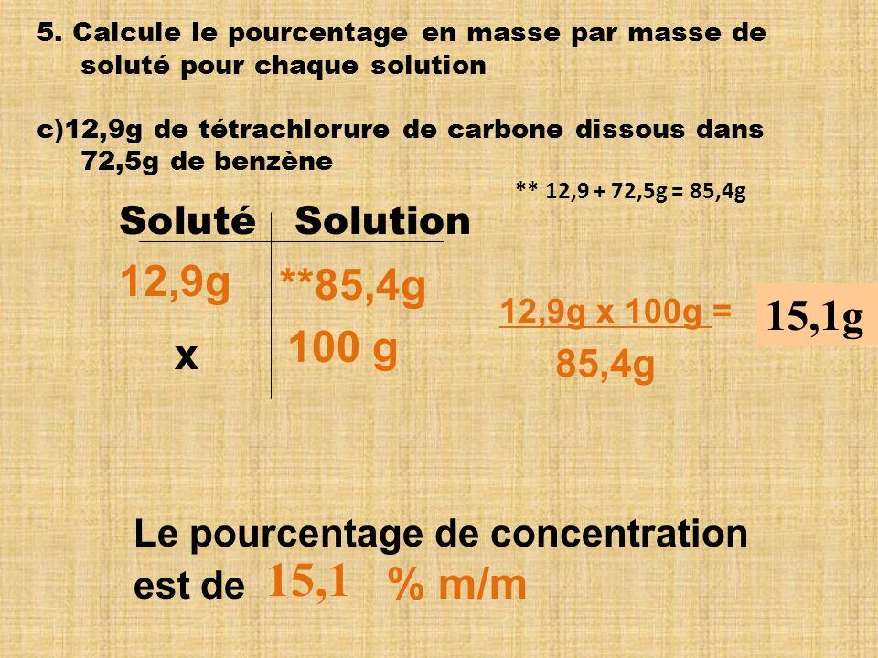 15,1 12,9g **85,4g 15,1g 100 g x Soluté Solution 85,4g
