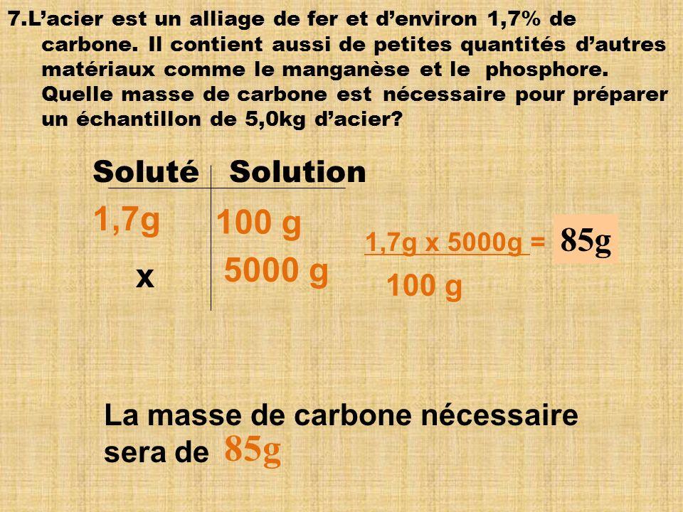 85g 1,7g 100 g 85g 5000 g x Soluté Solution 100 g