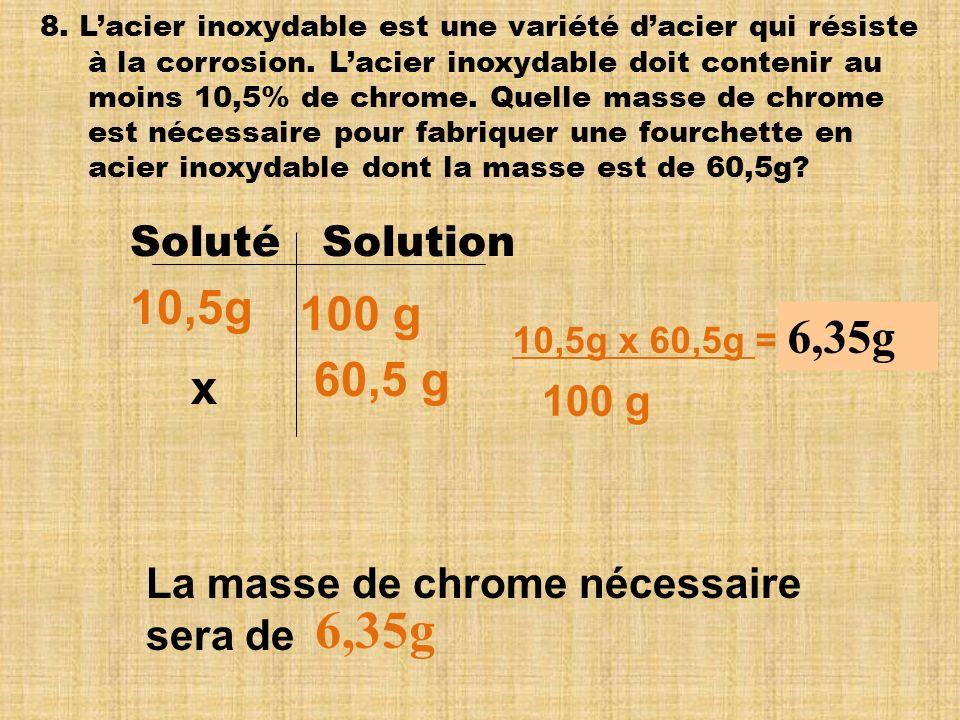 6,35g 10,5g 100 g 6,35g 60,5 g x Soluté Solution 100 g