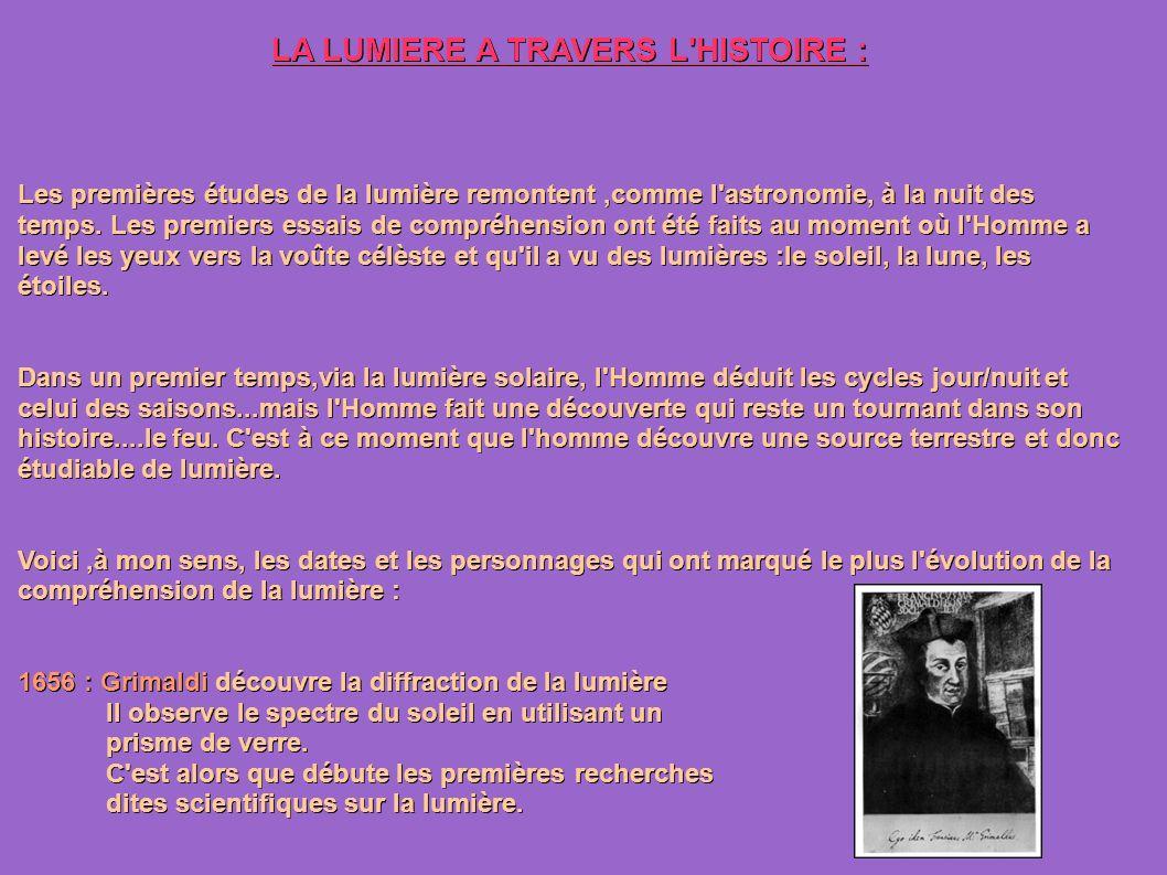 LA LUMIERE A TRAVERS L HISTOIRE :