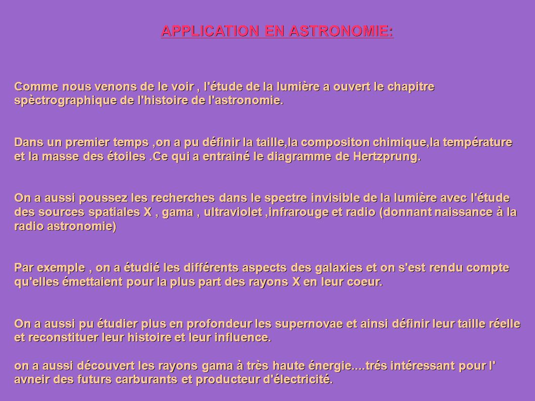 APPLICATION EN ASTRONOMIE: