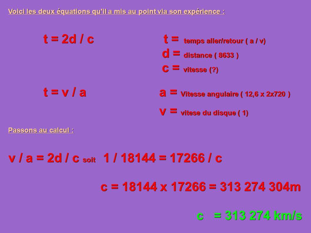 t = 2d / c t = temps aller/retour ( a / v) d = distance ( 8633 )