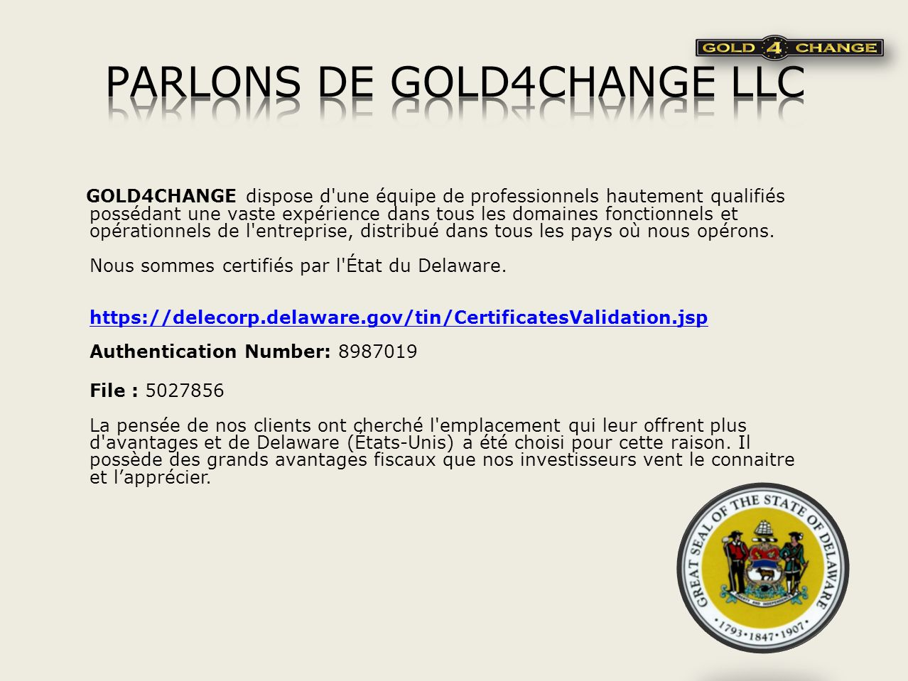 PARLONS DE GOLD4CHANGE LLC