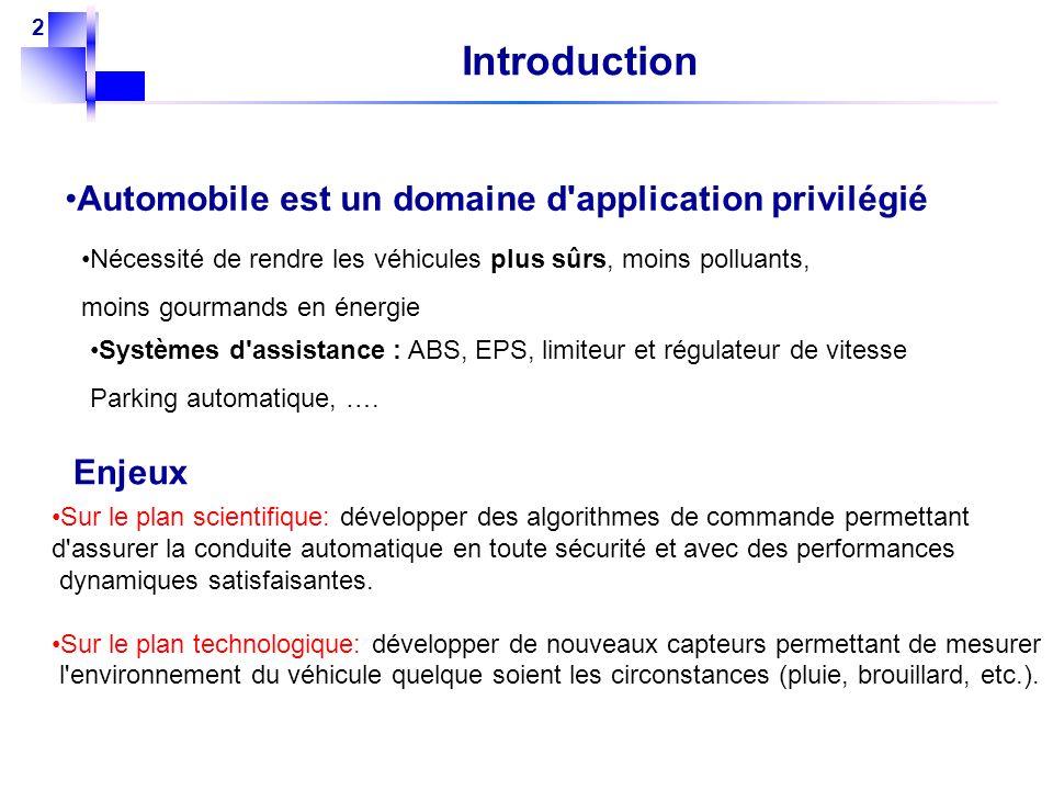 Introduction Automobile est un domaine d application privilégié Enjeux