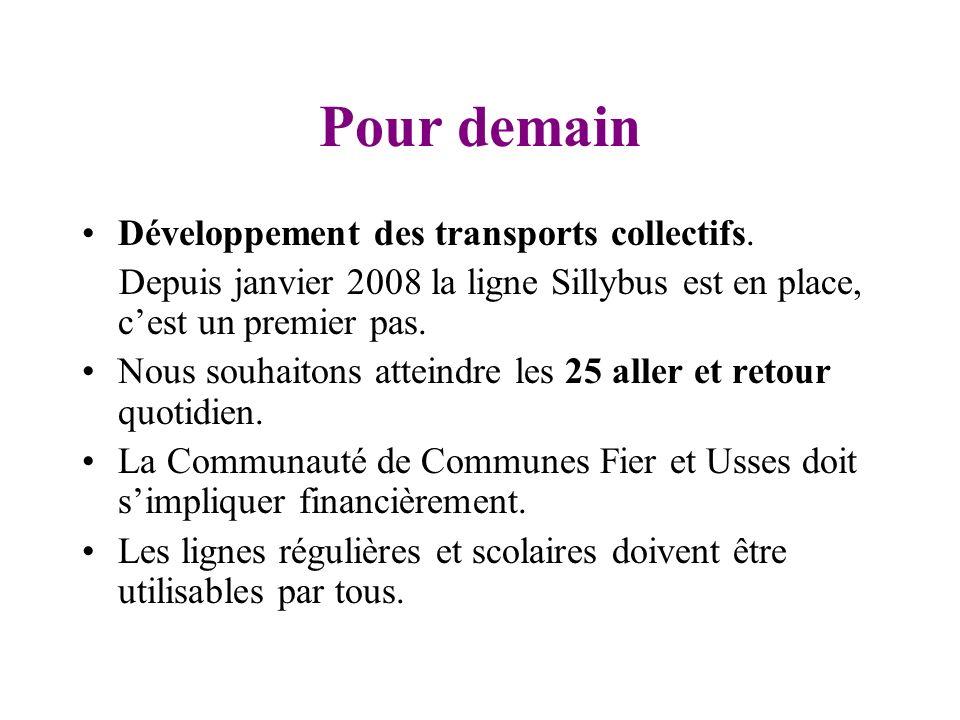 Pour demain Développement des transports collectifs.