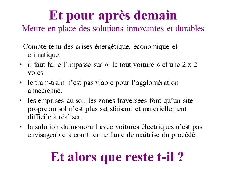 Et pour après demain Mettre en place des solutions innovantes et durables