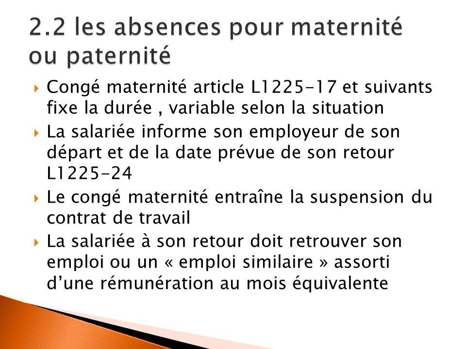 2.2 les absences pour maternité ou paternité