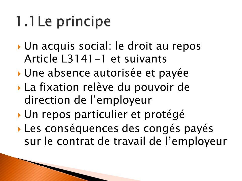 1.1Le principe Un acquis social: le droit au repos Article L3141-1 et suivants. Une absence autorisée et payée.