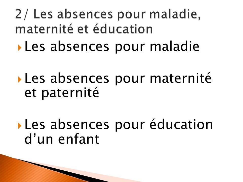 2/ Les absences pour maladie, maternité et éducation