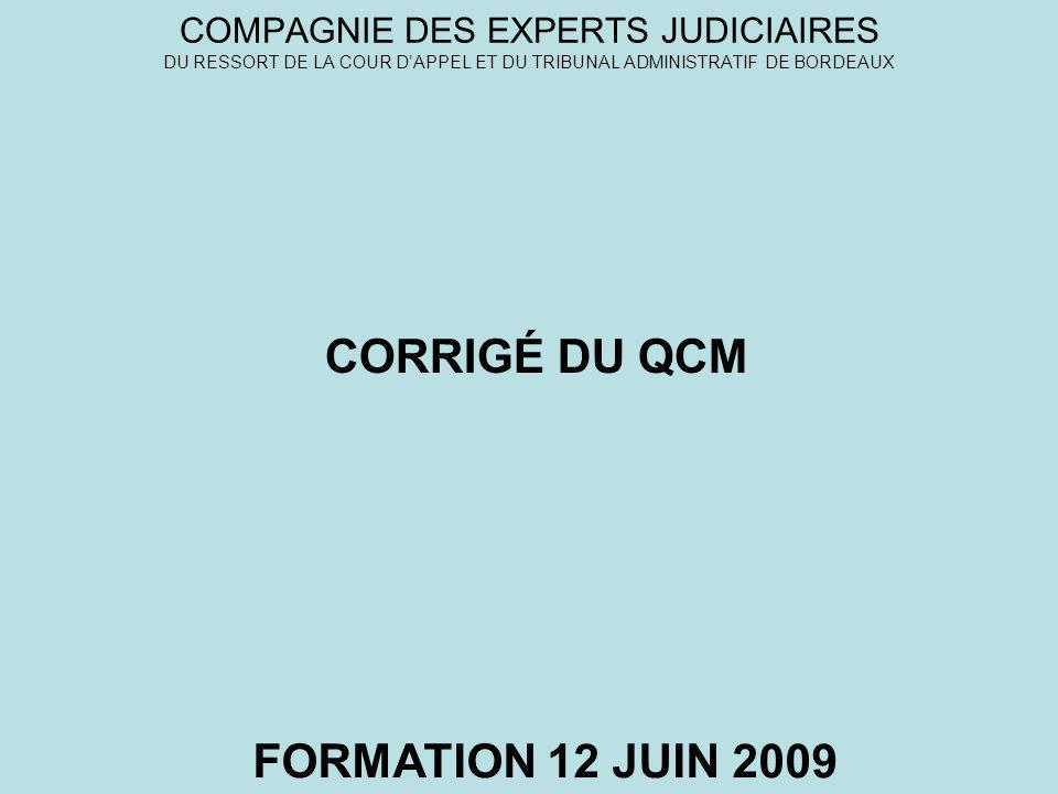 CORRIGÉ DU QCM FORMATION 12 JUIN 2009