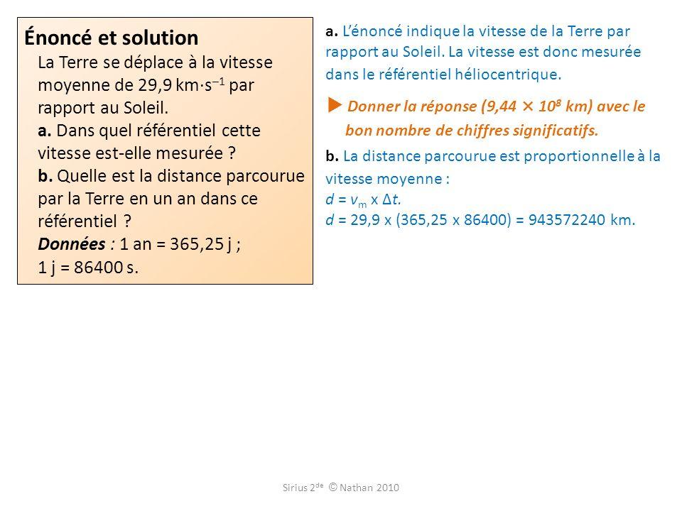 Énoncé et solution La Terre se déplace à la vitesse moyenne de 29,9 km·s–1 par rapport au Soleil. a. Dans quel référentiel cette vitesse est-elle mesurée b. Quelle est la distance parcourue par la Terre en un an dans ce référentiel Données : 1 an = 365,25 j ; 1 j = 86400 s.
